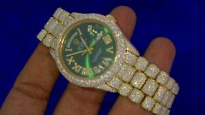 Green Dial Rolex Day Date President Watch 2476 diamonds Flower Setting