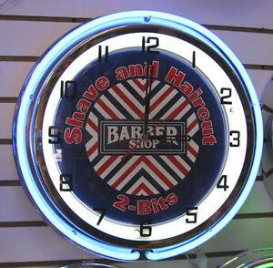 Barber Shop Shave & Haircut 2 Bits Salon Hair Cut Sign Large Neon Clock Vintage