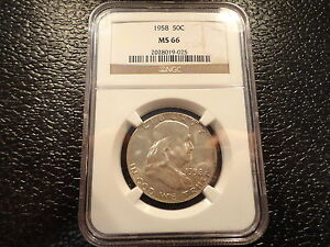 1958 FRANKLIN SILVER HALF DOLLAR NGC MS 66 -VERY COLLECTIBLE-AFFORDABLE- OFFERS