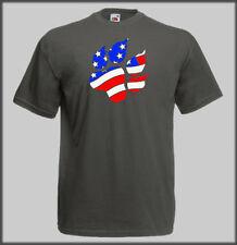 SLED DOG SPIRIT AMERICAN USA FLAG PAW HUSKY T SHIRT CANI CROSS BIKE SCOOTER JOR