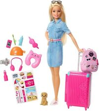 Barbie Travel Doll with Puppy Opening Suitcase Stickers and 10+ Accessories