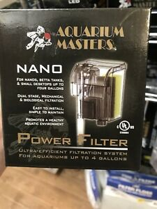 Aquarium Masters Nano Aquarium Filter Up To 4 Gallon Tanks Power Filter Cleans