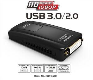 ClimaxDigital CUH350D USB 3.0 to DVI,VGA or HDMI Adaptor for Multiple Monitors