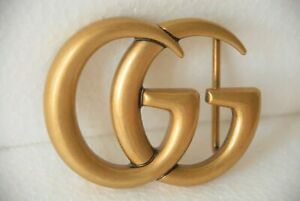 Authentic Large GUCCI Marmont GG Antiqued Matte Gold Belt Buckle Accessory