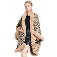Women Faux Cashmere Fox fur collar Poncho Coat Jacket Cape Loose Leopard Cloak L