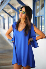 Womens Summer Short Mini Dress Loose Tunic Blouse Tops A Lined Dress Beach Smock