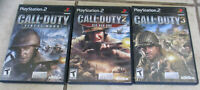 Lot 3 PS2 Call of Duty 2 Big Red One 3 Finest Hour Video Games manuals Tested