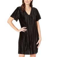 Lilla P Black Flutter Sleeve Pleated Velour Dress Women's Size S 83803