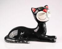 Katze liegend, schwarz, 25 cm, Keramik-Figur, reizende Deko für Heim und Garten