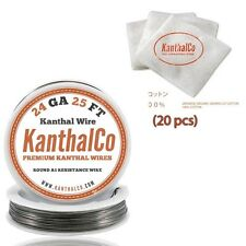 Organic Japanese Unbleached Cotton & 24 Gauge AWG A1 Kanthal Wire 25ft 0.51mm