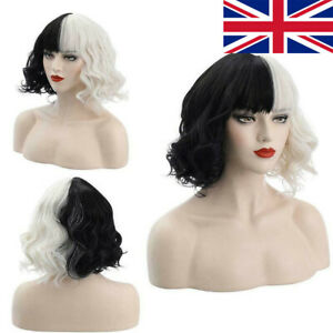 Black White Curly Hair Wigs For Cruella Wig Cosplay Women Short Wig Hairpieces