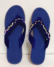 Blue Velvet String Indoor/bedroom Woman Slipper Size 9