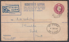 1949 Five Oak Green KGVI 6 1/2d Registered Envelope to Erith (Receiver), Kent
