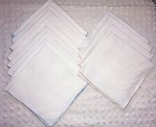 Lot of 12 Plain White Linen Napkins - pale blue and beige edging