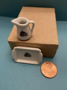 1:12 scale dollhouse miniatures lot pitcher and dish ceramic
