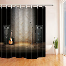 Guitar And Speaker On Stage Waterproof Fabric Home Decor Bathroom Shower Curtain