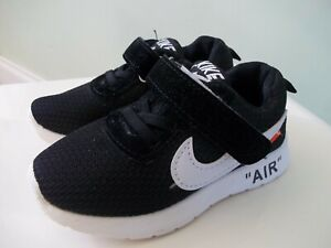 """UNISEX TODDLER / INFANT """"AIR """" BLACK SYNTHECTIC LIGHTWEIGHT TRAINERS SZ  UK 8"""