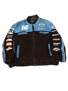 Vintage Ryan Newman Nascar Chase Wilson Leather Jacket Men Xl Blue Autel