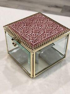 """Rachel Ashwell Shabby Chic Glass Jewelry Keepsake Box Small Pink Tile Mosaic 4"""""""