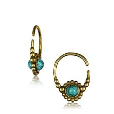 PAIR 18G BRASS EARRINGS HANGING FAUX TURQUOISE SMALL HOOP RING DOUBLE SIDED EAR