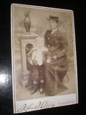 Old cabinet photograph mother son toy yacht by Avery London c1890s