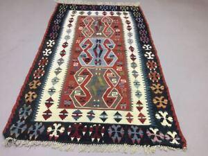 Antique Turkish Moroccan Kilim Rug shabby vintage wool Kelim 165x100cm Medium