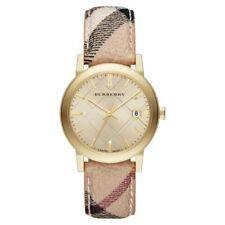 100% New Burberry BU9026 The City Champagne Dial Leather Women's Watch 38mm Case