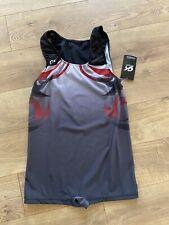 Gk Elite Singlet Size Axl Adult Extra Large Nylon Spandex Black Gray Red Nwt