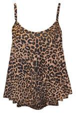 Womens Ladies Cami Strappy Leopard Tartan Print Sleeves Vest Top T Shirt UK 8-26