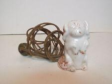 1900s Porcelain Pekingese Christmas Feather Tree Three Slot Extension Cord
