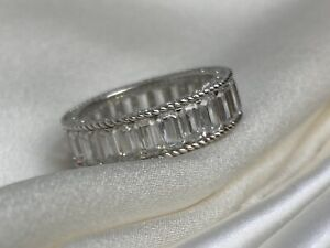 Judith Ripka Sterling Silver Anniversary Band Ring with Faceted Cubic Zirconia