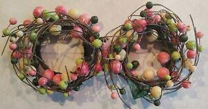 """Set Of 2 - PIP Berry 3"""" Pillar Candle Ring Pink Green Berries Wood Country Charm"""