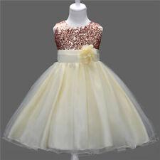 Vestido de Niña Lentejuelas Princesa Bautizo Boda Cumpleaños 120cm 6-8 Años