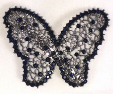 Elegant Butterfly Silver Plated Sapphire Color Rhinestone Hair Clip