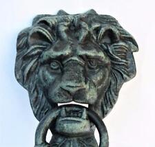 New Large - Bearded Lion Head Door Knocker Foundry Cast Iron Verdigris Finished