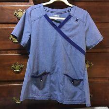 Scrubstar Premium Scrubwear Womens Medium Set Top Shirt Yoga Pants Blue Indigo