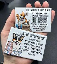 Corgi Dog Measuring Chart Magnet Set Handmade Kitchen Cooking and Baking Guide