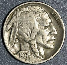 New Listing1937-D 5c 3-Legged Buffalo Nickel, Grade Vf+/Xf, Sku-2363