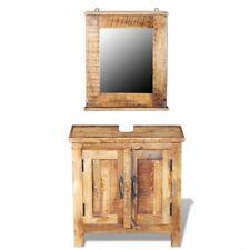 Bathroom Sink Cabinet Vanity & Mirror Set Solid Mango Wood Vintage Rustic Decor