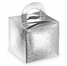 50 SILVER LARI BALLOON WEIGHT OR GIFT FAVOUR BOXES 65 x 65 x 65mm SQUARE HANDLE