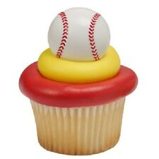 12 Baseball Cake Cupcakes Pop Rings Boy Birthday Party Topper Favor