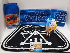 Star Wars Bath Bundle - Bath Rug, Hooded Towel, 6 pc Washcloths & 2 Hand Towels