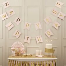 HAPPY FIRST BIRTHDAY PINK&GOLD BUNTING-PASTEL PERFECTION/Party Deco,Flag Banner