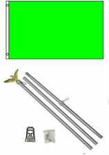 2x3 2'x3' Advertising Solid Neon Green Flag Aluminum Pole Kit Set