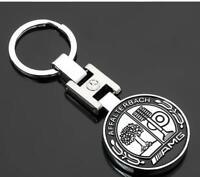 AMG Keyring CHROME Black METAL Key RING KEYCHAIN AMG Affalterbach MERCEDES BENZ