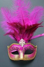 HOT PINK & GOLD FEATHER MASK VENETIAN MASQUERADE BALL CARNIVAL PARTY EYE MASK