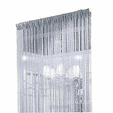 Duosuny 39x78 Inch Door String Curtain Rare Flat Silver Ribbon Thread Fringe Wi