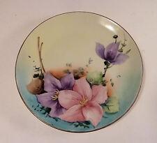 Ceramic Plate CZECHOSLOVAKIA MARK Handpainted Florals 1950s