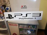 "PS3 Display, PlayStation 3 Aluminum Sign, 6"" x 24""."
