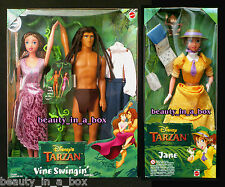 "Tarzan and Jane Doll Disney Vine Swingin Gift Set Movie Lot 2 NRFB "" RB"